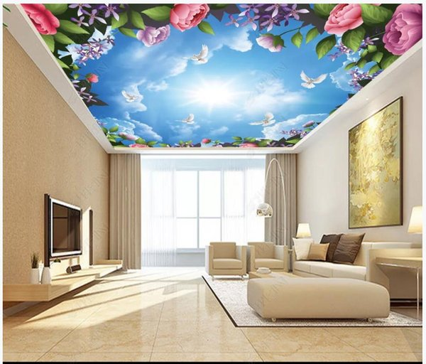 Custom 3D large zenith mural photo wallpaper Beautiful flowers white dove blue sky white clouds living room ceiling zenith mural