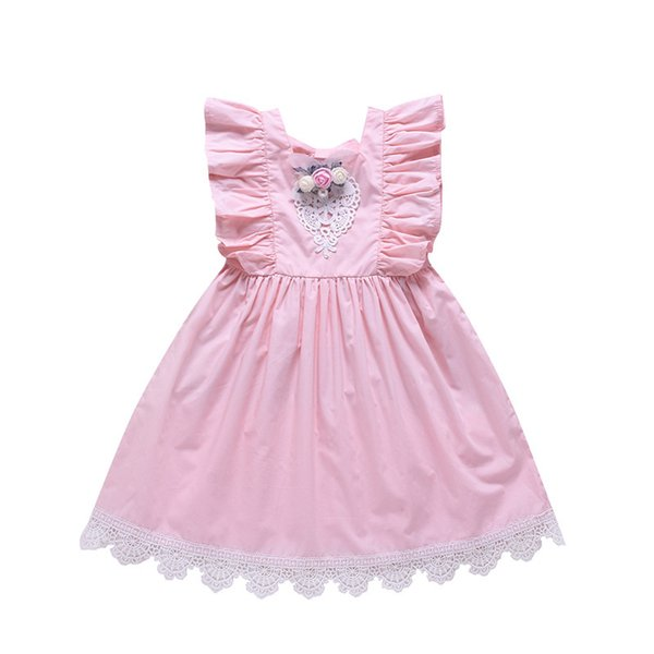 Summer Girls dresses kids stereo flower lace hollow embroidery falbala fly sleeve dress children lace-up Bows backless princess dress F7029