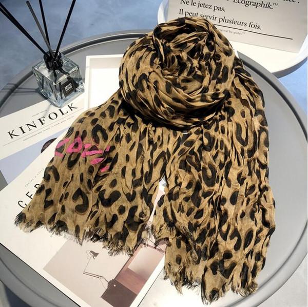 2018 autumn winter new leopard tassel wrinkles casual wild ladies scarf classic print pattern cotton creasing Scarf big size 200cm * 140cm