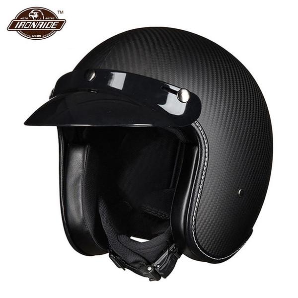 Casco de motocross de fibra de carbono Casco de moto Hombres Media cara Moto Riding Racing Biker Capacete Casco Moto