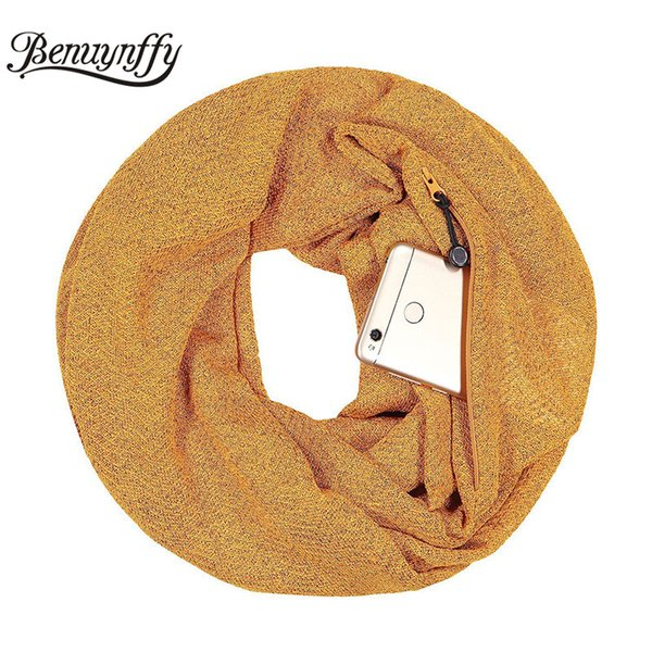 Benuynffy frauen Weiche Gestrickte Reißverschluss Tasche Loop Schal Herbst Winter Mode Allgleiches Goldene Silber O Ring Schals für Frauen