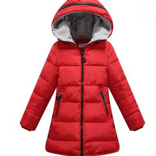 best selling Girl coat Children's Outerwear thick Kids Fashion Casual Child Jackets For Girls Warm Winter Hooded Jacket Coats candy solid