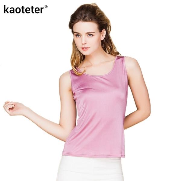 a4a15ccf7c 100% de Seda Real Mulheres Tops Tanque Femme O-pescoço Camiseta Tops  Mulheres Sem