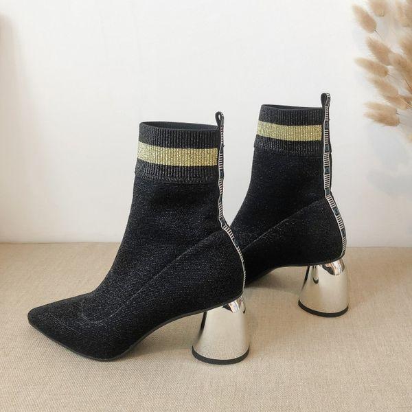 MLJUESE 2020 femmes bottines velours bout pointu glisser sur hiver court talon carré en peluche femmes chaussettes bottes robe de soirée