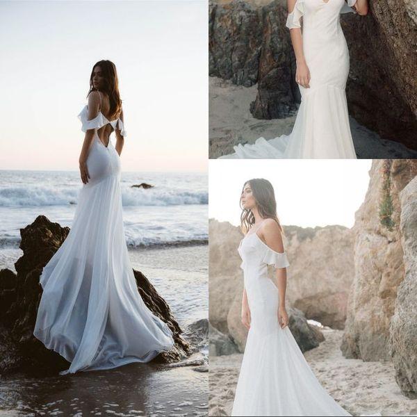 2019 Vestidos De Noiva Sereia V Neck Spaghetti Straps Backless Praia Vestido De Noiva Chiffon Long Train vestido de noiva Novo