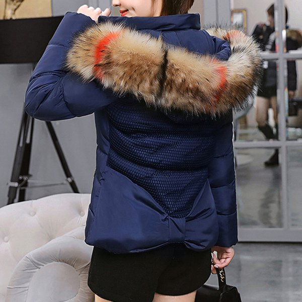 Women Parka 2018 Feminino Drop Ship Pocket Zipper Hoodies Casual Thick Coat Winter Jacket Women Short Padded Thick Fur Collar