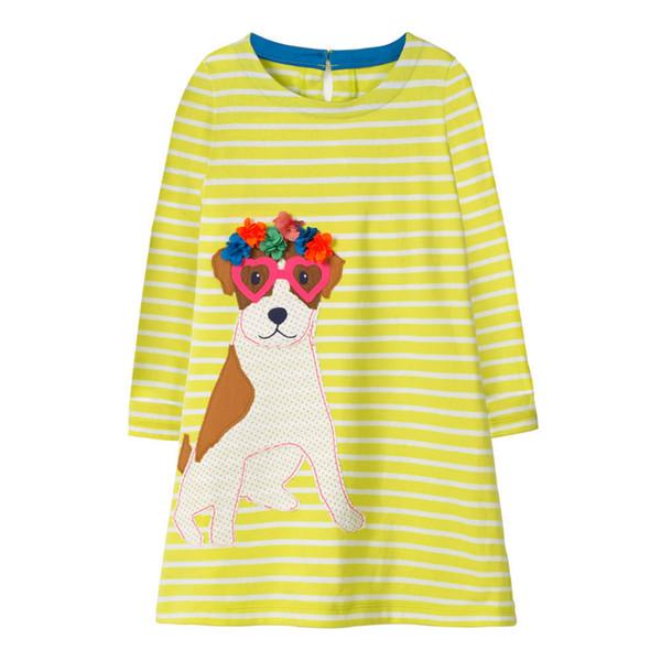 Long Sleeved Dog Pocket Striped Kids Girls Dress Children Girls Infant Spring Cotton Baby Girls Dress Designer Unicorn Children Outfits