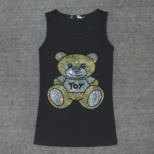 Hot Sale Summer Sleeveless T Shirt Women Ladies Multicolor Crystal Bear T-shirt Vest Love Tank Tops Women's Cotton Tops Tees Y19050502