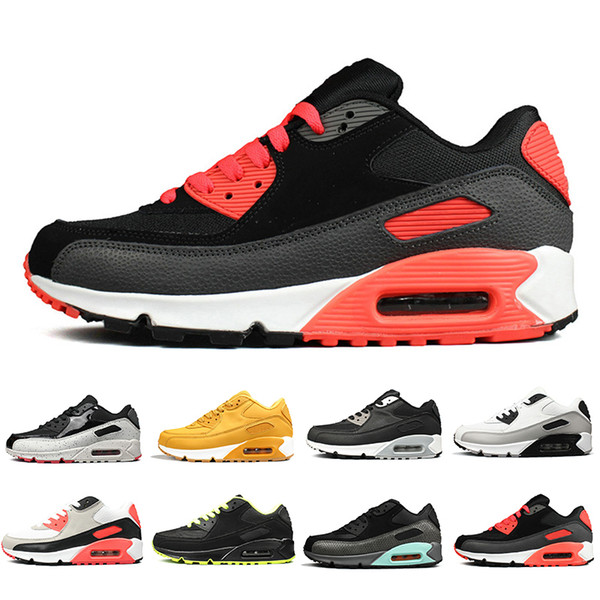 Compre Nike Air Max 90 Shoes OG Triple Black Men Women Running Shoes Classic Yellow Red Wheat 90s Sports Trainer Air Cushion Surface Breathable