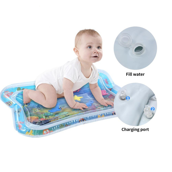 top popular Baby Kids Inflatable Water Play Mat Inflatable thicken PVC infant Tummy Time Playmat Toddler Fun Activity Play Center water mat for babies 2021