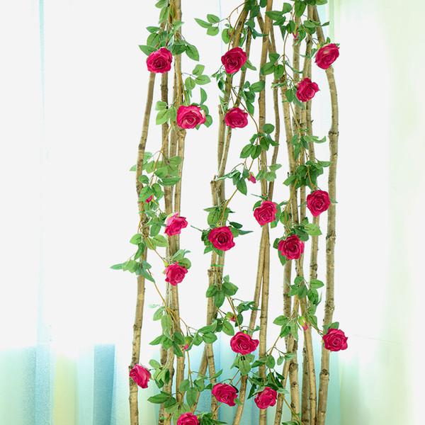 wedding decoration Artificial Rose Flower garland Ivy Vine flower wall decor Real Touch Silk Flowers String for Home garden Hanging Garland