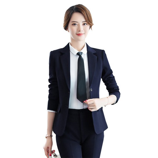 Pantalones y Blazers de moda coreana para mujer Primavera otoño Pantalón Traje de trabajo Ropa de trabajo Oficina de 2 piezas Conjunto de pantalón Traje de pantalón delgado