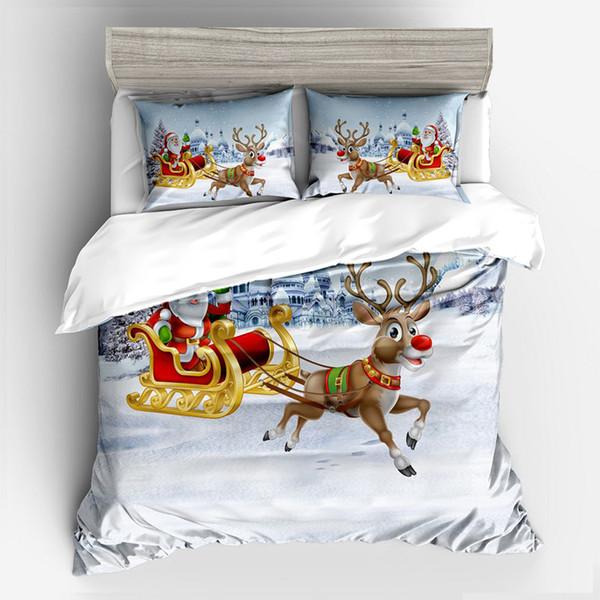 Santa Claus Sleigh Elk Literie Ensemble Couette De Noël Présente Ensemble De Couverture De Lit King Tailles Textiles À La Maison 3 / 4pcs De Luxe Housse De Couette