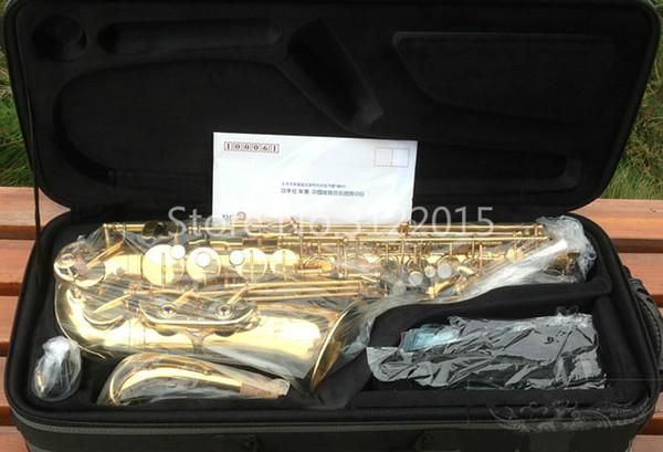 Nova Chegada JUPITER JAS-767-III Alta Qualidade Latão Alto Eb Tune Sax Saxofone Laca De Ouro Instrumento Musical com Caso Frete Grátis