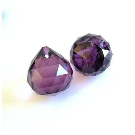 30pcs/Lot 20mm Violet Chandelier Crystal Faceted Ball Prism Suncatcher Feng Shui Free Rings Free Shipping