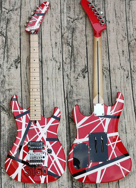 top popular Big Headstock Kra Eddie Van Halen 5150 White Black Stripe Red Electric Guitar Floyd Rose Tremolo & Locking Nut, Maple Neck & Fingerboard 2021