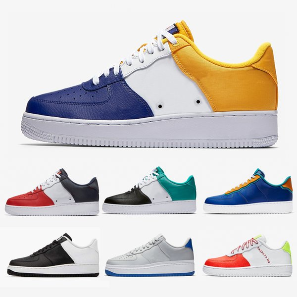 Großhandel NIKE Air Force 1 Air Forces Shoes Men Customs FC Barcelona Indigo Iridescent Casual Shoes Neptune Green Obsidian Yellow Navy Fashion Sports