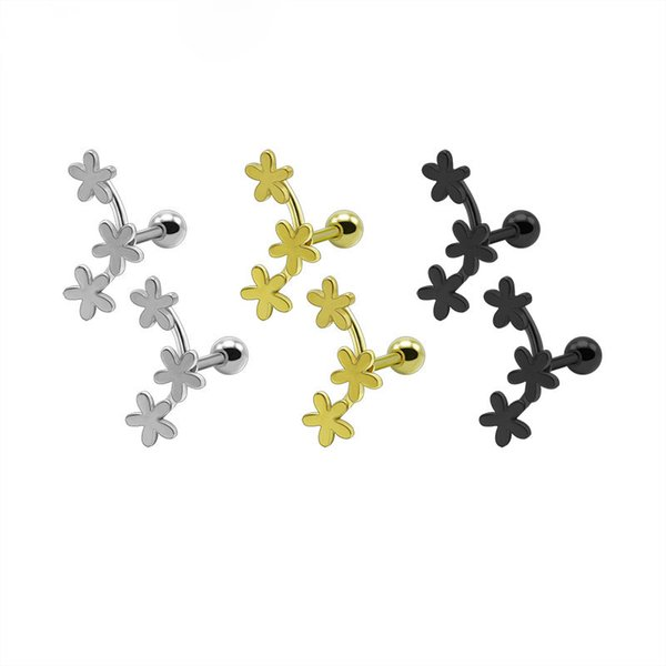 2PCS Fashion Flower Cartilage Earrings Titanium Stainless Steel Silver Gold Black Helix Brincos Pendientes Body Piercing Jewelry