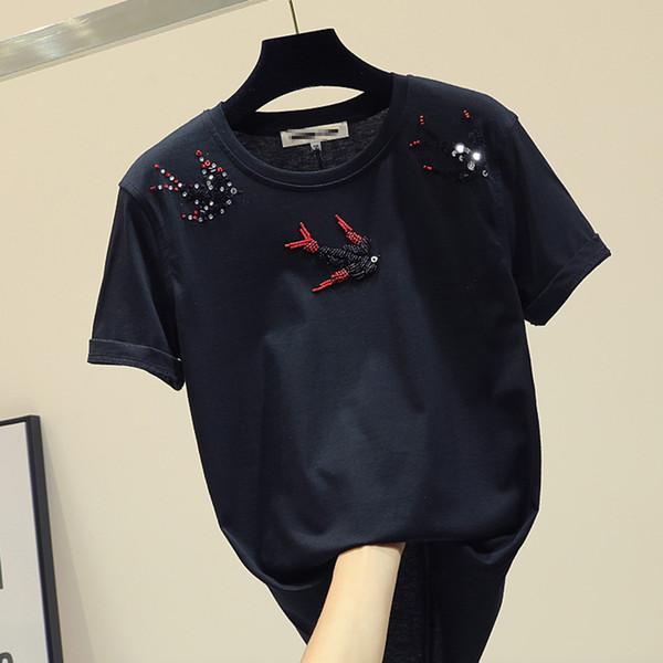 Primavera Verão Novo Solto-estilo das Mulheres T-shirt Preta de Manga Curta Pássaro Lantejoulas Frisado Camisetas Meninas Senhoras Básicas Tops Puxar Camisa
