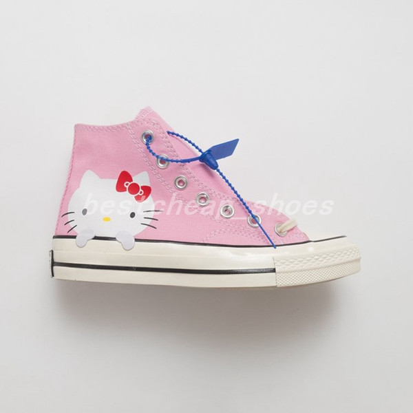 New Cute Kitty Cat x Chuck 70 High 1970s Mandrini rosa Donna Hello Casual Canvas Shoes Skate Womens Trainers Glitter argento Designer Sneakers