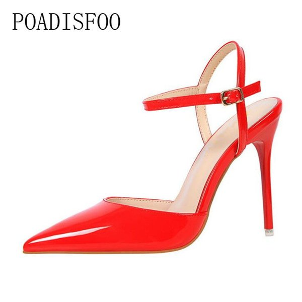 Poadisfoo 2019 Mode dünne Fersen hohle Super High Heel Schuhe Pumps Schuhe Sexy Spitz Niet Frauen Schuhe .ds-86-1