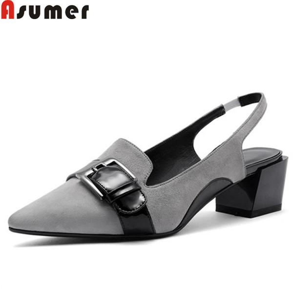 ASUMER moda primavera nuevos zapatos mujer punta estrecha hebilla slingback tacones cuadrados baile de boda zapatos de cuero de gamuza mujeres