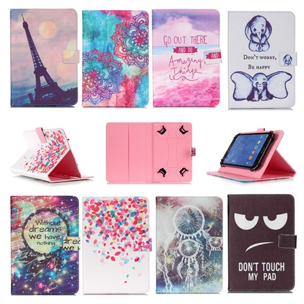 Cartoon Printed Universal 10 inch Tablet Case for Lenovo Tab 2 A10-70 Cases kickstand PU Leather Flip Cover Case for Lenovo A10-70 A7600