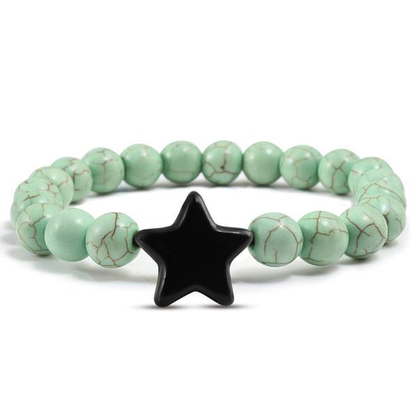 Pierre Naturelle Bracelets Pour Femmes Boho Multicolore Bijoux 8mm Chanceux Étoile Perles Couple Distance Bracelet Hommes Hombre pulsera mujer
