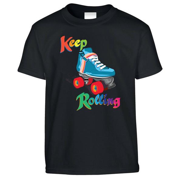 Vintage Skating Kids T Shirt Keep On Rolling Pun Joke Derby Girls Roller Skates