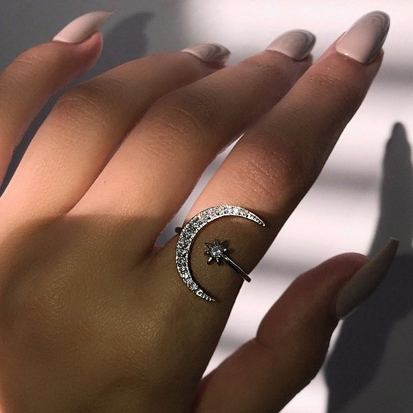 best selling Luxurious Natural Gemstones Moon and Star Adjustable Ring White Glod Filled 925 Sterling Silver Romantic Diamond Ring Jewelry