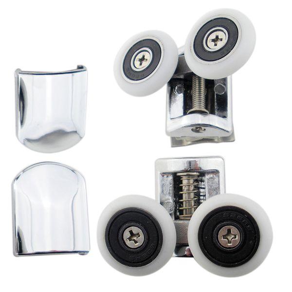 top popular 2Pcs Shower Door Rollers Runners 26mm Double-Wheeled Replacement adjusted sliding Shower Door Roller Wheel hardware 2021