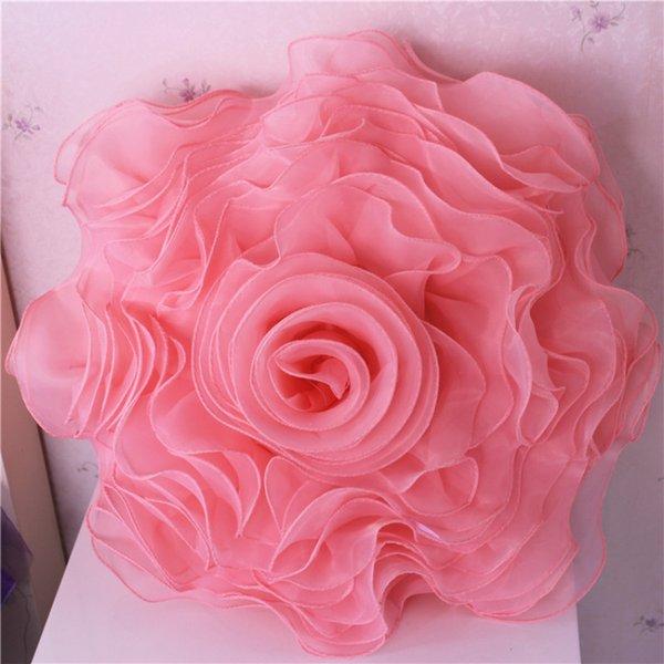 3D organza Rosa Adesivo almofada Flores almofada do sofá romântico Handmade plissadas Party Decor Floral Lace Wedding Pillow