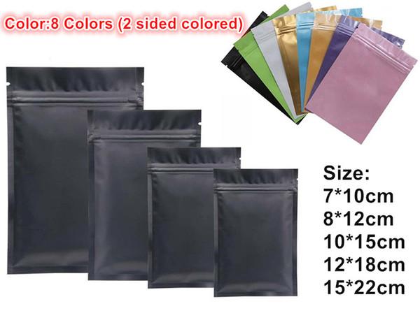 En plastique noir sacs de papier d'aluminium mylar Sac à glissière pour le stockage alimentaire à long terme et objets de collection protection 8 couleurs deux côté coloré