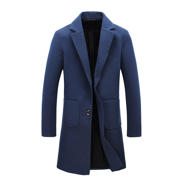 Wintermantel New Fashion Designer Lange Herren Mantel Herbst Winter Winddicht Slim Trench Men Plus Size JS0068