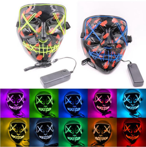 Halloween Mask LED Light Up Party Masks The Purge Election Year Great Funny Masks Festival Cosplay Costume Supplies Glow In Dark 30pcs Y0002