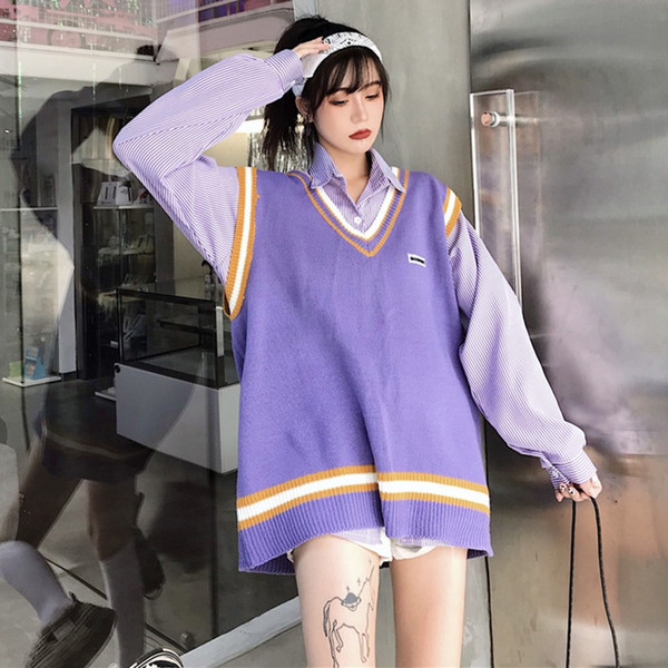 2019 Korean Style Fashion Chic Loose Vest Pullover Plus Size Sweaters Female Oversized Knitted Sweater Sleeveless Streetwear From Mapnature, $23.24 |