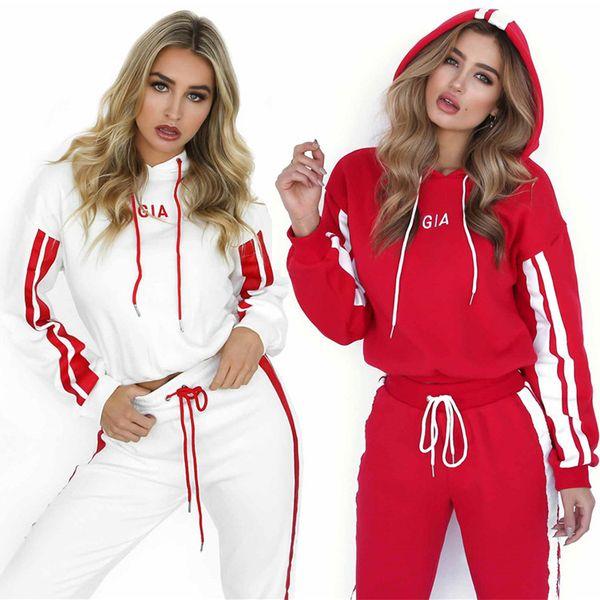 Fatos de Treino de mulheres Moda Imprimir Two-piece Suit Carta Ocasional Listrado Sportswear Estilo Solta Pullover Calças