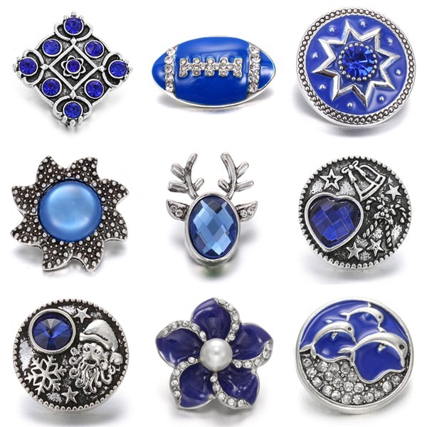 New Snaps Buttons Jewelry Blue Rhinestone Flower 18mm 20mm Metal Snap Button Fit Snap Bracelets for Women DIY Noosa Chunk Jewelry