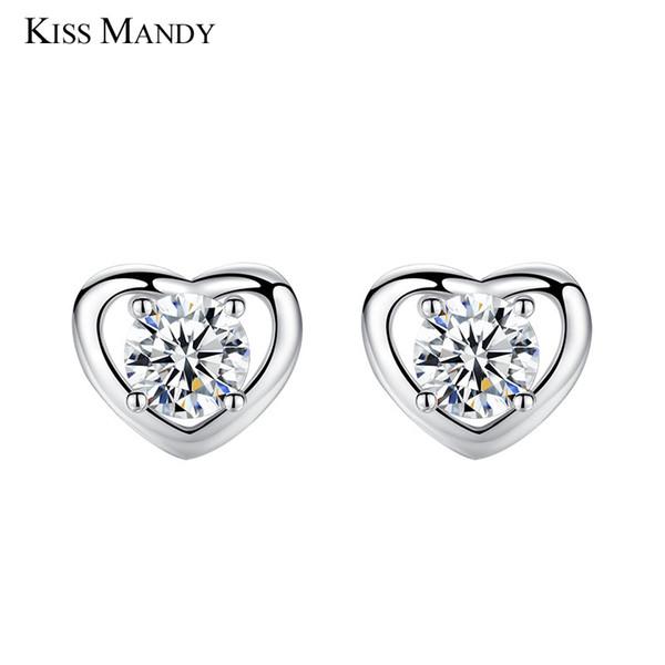 KISS MANDY Mignon Argent Coeur Boucle D'oreille Pour Les Femmes Carré Cubique Zircon Coréenne De La Mode Bijoux Accessoires Filles Cadeau KLE08