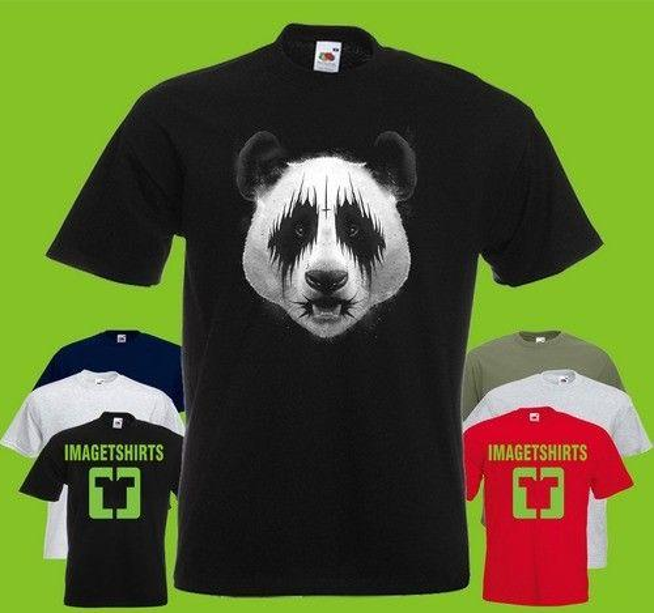 T-shirt imprimé Panda en métal noir t-shirt