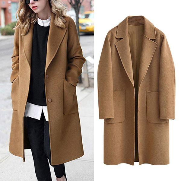 women winter lapel button long woolen coat jacket ladies solid pocket overcoat outwear manteau femme black plus size m~5xl