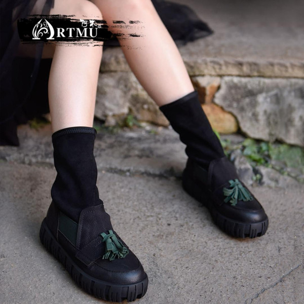 artmu original autumn and winter new british fringe shoes thick bottom elastic fabric women boots cowhide handmade boots 18667