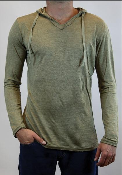 Bahar Yeni Tasarımcı Erkek Tişörtleri Katı Renk Kapüşonlu Ince Spor Atletik Spor Uzun Kollu Tops