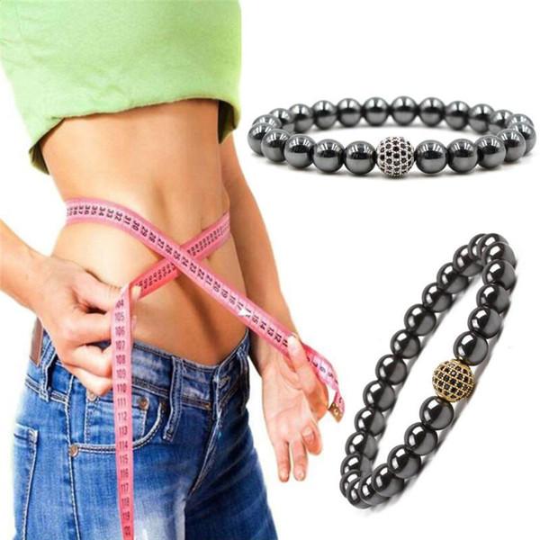 Hematita Pedra Terapia Cuidados de Saúde Ímã Hematita Contas Pulseira Mulheres Preto 18 cm-20 cm Pulseira Magnética Beads Jóias dos homens