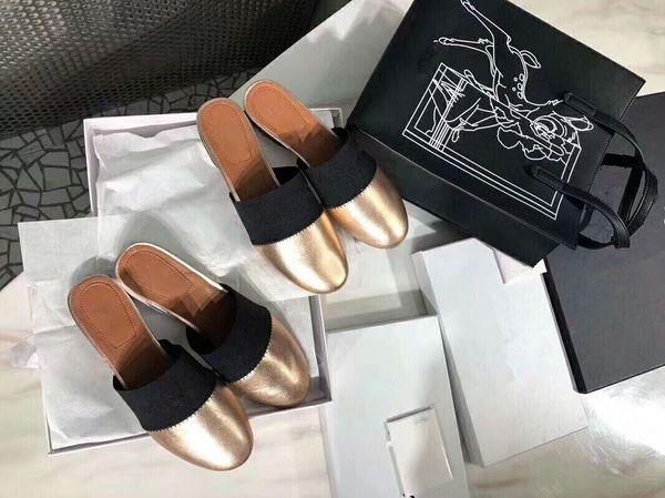 2019 New Luxury Designer Women Genuine Leather Lambskin Flats Mules Slides Woman slippers with Letter black white golden slipper mule c0000