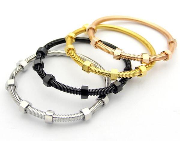 European and American models selling 6 screw bracelets Fashion wild couples couple nuts titanium steel bracelets