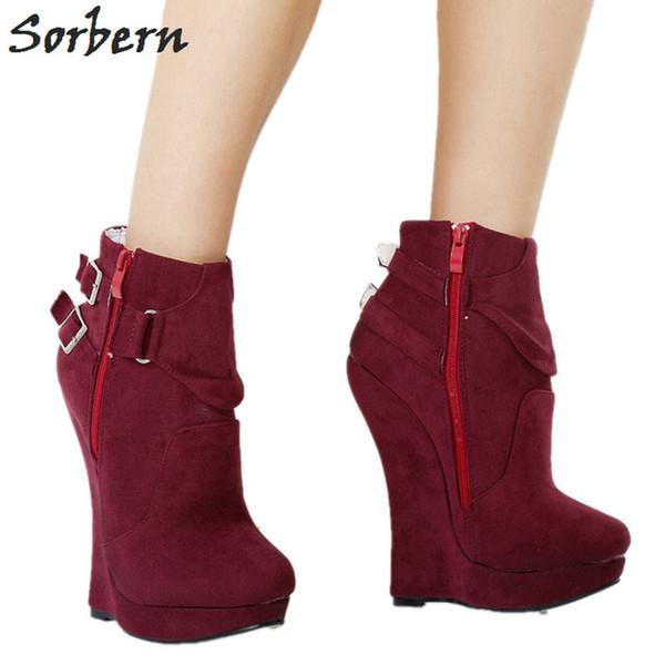 Acheter Plateformes Chaussures Bottes Bottines Sorbern Punk Compensées Plus Confortable Femmes Vin Rouge Plateforme La Talons Taille H2bWDI9eEY