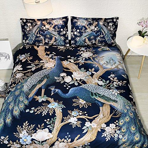 Peacock Floral Duvet Cover Full Size Navy Blue Flower Bedding Peacock King Size Bedspread Tree Branch Pillow Cover Moon Bed Set NO Quilt