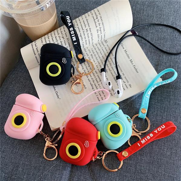Cartoon Camera Wireless Bluetooth Earphone Case For Apple AirPods Silicone Charging Headphones Cover For Airpods key ring Strap