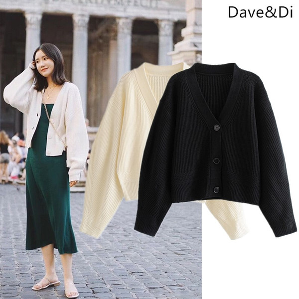 Dave&Di 2019 winter clothes women England style full regular cardigans single breasted BTS christmas sweater women tops 0112